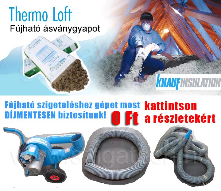 Thermo Loft fújható ásványgyapot szigeteléshez ingyen gép akció