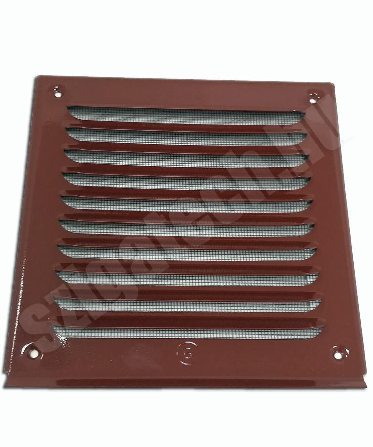 barna festett aluminium szellőzőrács fém rovarhálóval
